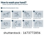 steps how to wash hands.... | Shutterstock .eps vector #1673772856