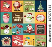 vintage christmas poster label... | Shutterstock .eps vector #167379368
