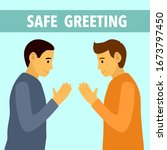 namaste greeting to avoid covid ... | Shutterstock .eps vector #1673797450