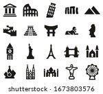 landmarks of the world icons... | Shutterstock .eps vector #1673803576