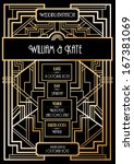 art deco wedding invitation... | Shutterstock .eps vector #167381069
