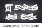 ribbon banner. set of black and ... | Shutterstock . vector #1673819530