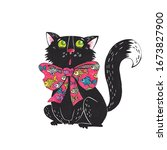 illustration with a black cat... | Shutterstock . vector #1673827900