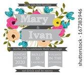 wedding invitation card | Shutterstock .eps vector #167383946