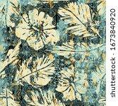 hawaiian style hibiscus fabric... | Shutterstock .eps vector #1673840920