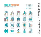 simple set of covid 19... | Shutterstock .eps vector #1673841796
