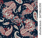 paisley floral vector... | Shutterstock .eps vector #1673861350