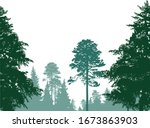 illustration with green forest... | Shutterstock .eps vector #1673863903