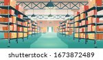 warehouse interior with... | Shutterstock .eps vector #1673872489