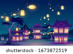 chinese  asian village with... | Shutterstock .eps vector #1673872519