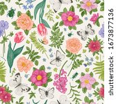 seamless floral pattern with... | Shutterstock .eps vector #1673877136