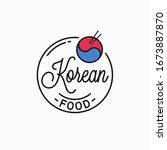 korean food logo. round linear...   Shutterstock .eps vector #1673887870