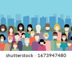 people in white medical face... | Shutterstock .eps vector #1673947480