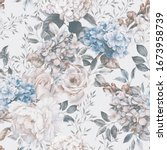 seamless floral pattern with... | Shutterstock . vector #1673958739