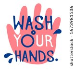 wash your hands to prevent...   Shutterstock .eps vector #1673981536