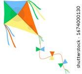 bright kite  flat style vector... | Shutterstock .eps vector #1674000130