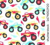 multicolored cartoon monster... | Shutterstock .eps vector #1674002920