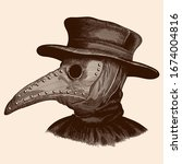 A Plague Doctor In A Mask With...