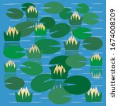 simple vector pond with water... | Shutterstock .eps vector #1674008209