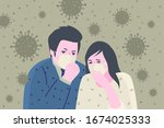 concept of quarantine. sad... | Shutterstock .eps vector #1674025333