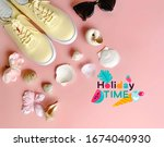 summer shoes  sneakers   yellow ...   Shutterstock . vector #1674040930
