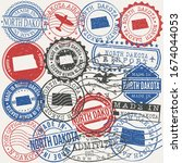 north dakota  usa set of stamps.... | Shutterstock .eps vector #1674044053