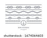 set of nautical rope seamless...   Shutterstock .eps vector #1674064603