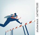 concept of overcoming obstacles....   Shutterstock .eps vector #1674075100