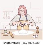 woman cracking an egg to a... | Shutterstock .eps vector #1674076630