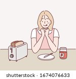woman waiting for some bread to ... | Shutterstock .eps vector #1674076633