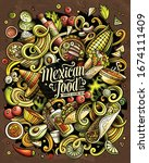 mexican food hand drawn vector... | Shutterstock .eps vector #1674111409