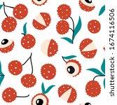 doodle lychee vector seamless... | Shutterstock .eps vector #1674116506