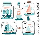 cute ships  boats  yachts in... | Shutterstock .eps vector #1674116509