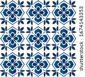 ceramic azulejo tile designed... | Shutterstock .eps vector #1674143353