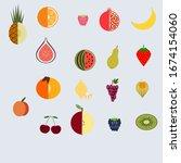 fruit set of 18 pieces  peach ... | Shutterstock .eps vector #1674154060