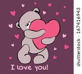 Card With Cute Teddy Bear...