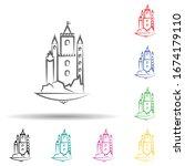 castle multi color set icon....