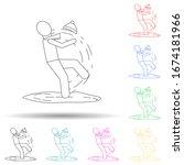 man falls on ice multi color...