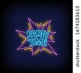 party time neon signs style...   Shutterstock .eps vector #1674183613