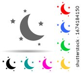 half moon and stars multi color ...