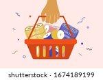 human hand holding shopping...   Shutterstock .eps vector #1674189199