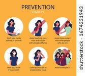 prevent flu set. covid 19... | Shutterstock .eps vector #1674231943