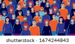 group of people wearing... | Shutterstock .eps vector #1674244843