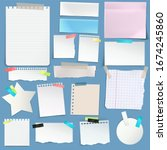 torn white note  notebook paper ... | Shutterstock .eps vector #1674245860