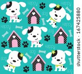 Happy Dog Pattern With Paw...
