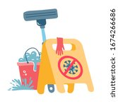 cleaning during coronavirus... | Shutterstock .eps vector #1674266686