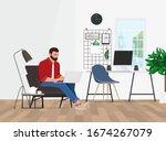 a freelancer man works behind a ... | Shutterstock .eps vector #1674267079