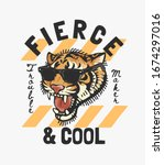 fierce and cool slogan with... | Shutterstock .eps vector #1674297016