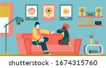 couple sitting on couch and... | Shutterstock .eps vector #1674315760
