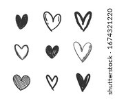 heart doodles collection. set... | Shutterstock .eps vector #1674321220